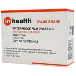 In-Health Waterproof Film Dressing - 6x7cm Box/50